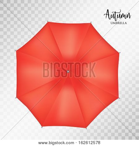 Vector classic red round Rain umbrella top view Blank Opened Parasol Sunshade Mock up on light grey transparent Background. Top Side View graphic Element for advertising, poster, banner print design