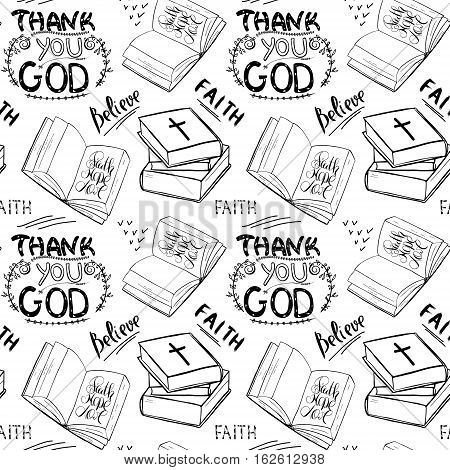Faith believe. Books and Bible lettering. Brush calligraphy. Hand drawing illustration. Words about God. Seamless vector pattern.