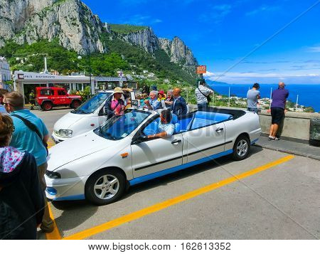 Capri, Italy - May 04, 2014: Vintage convertible taxi car on Capri island in Italy on May 04, 2014