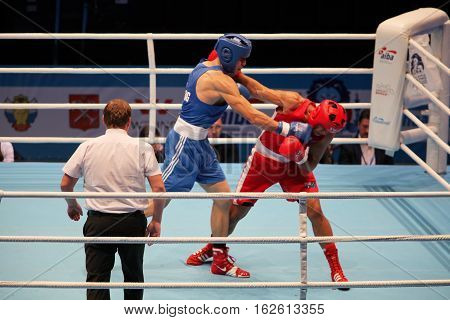 St. Petersburg Russia November 21 2016 Youth World Boxing Championships men heavy 81 kg. boxer muscular arm
