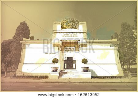 The Secession Building, Wiener Secessionsgebaude - exhibition hall built in 1897. Vienna, Austria. Modern painting style texture. Travel illustration.
