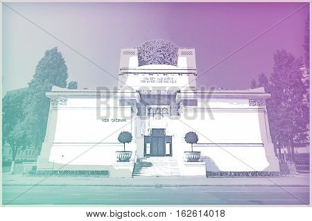 The Secession Building, Wiener Secessionsgebaude - exhibition hall built in 1897. Vienna, Austria. Modern painting style texture. Travel illustration. poster