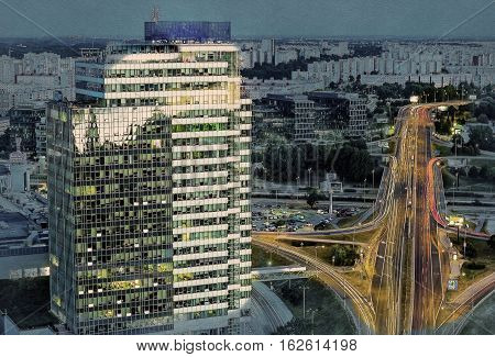 Modern buildings in Bratislava city in Slovak republic. Architectural theme. Travel destination. Beautiful place. Real estate theme. Modern painting style texture. Travel illustration.
