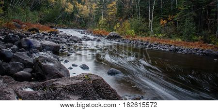 Water stream thru rocks near northshore MN