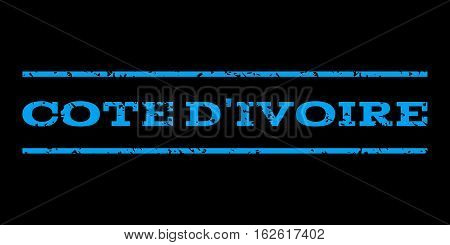 Cote D'Ivoire watermark stamp. Text caption between horizontal parallel lines with grunge design style. Rubber seal stamp with unclean texture. Vector blue color ink imprint on a black background.