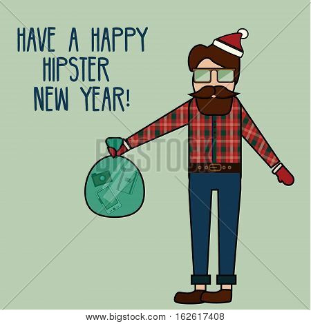 Happy New Year greeting card with modern young man. Hipster geek character and winter greetings