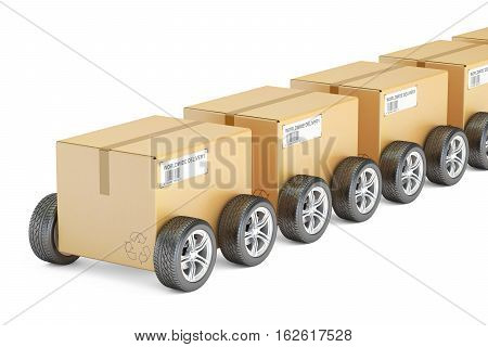 Parcels with wheels fast delivery concept. 3D rendering isolated on white background
