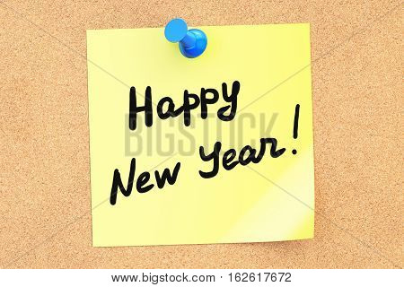 Happy New Year text on a sticky note pinned to a corkboard. 3D rendering