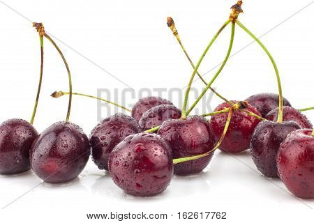 Cherry, cherry tree, red ripe cherries, heap, stem, tree, fur