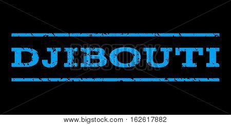 Djibouti watermark stamp. Text caption between horizontal parallel lines with grunge design style. Rubber seal stamp with unclean texture. Vector blue color ink imprint on a black background.