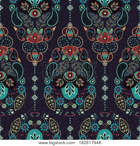 Dark Paisley Seamless Pattern. Original Decorative Backdrop, Indian Style