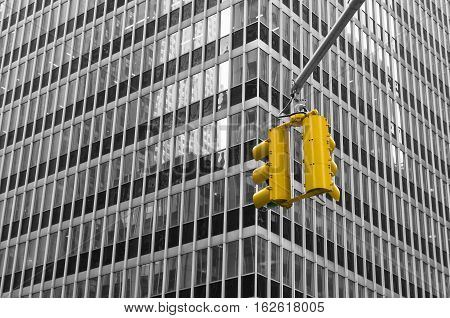 typical yellow traffic lights in new york city