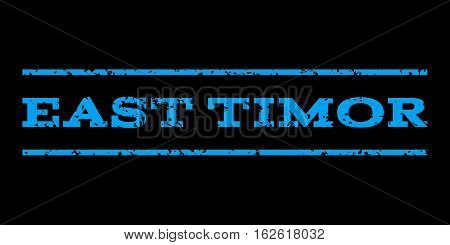 East Timor watermark stamp. Text tag between horizontal parallel lines with grunge design style. Rubber seal stamp with unclean texture. Vector blue color ink imprint on a black background.
