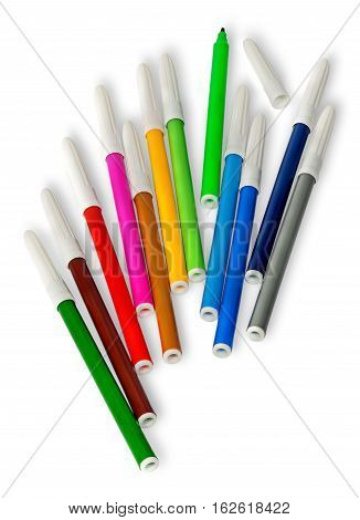 Scattered colored felt tip pens isolated on white background