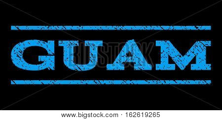 Guam watermark stamp. Text tag between horizontal parallel lines with grunge design style. Rubber seal stamp with dust texture. Vector blue color ink imprint on a black background.