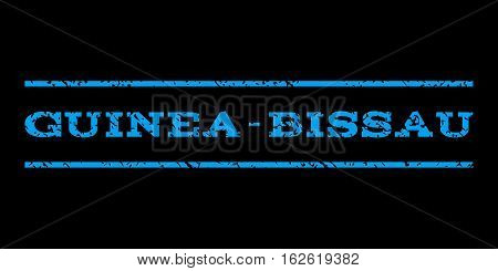 Guinea-Bissau watermark stamp. Text tag between horizontal parallel lines with grunge design style. Rubber seal stamp with unclean texture. Vector blue color ink imprint on a black background.