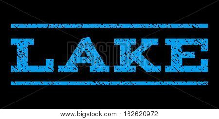 Lake watermark stamp. Text tag between horizontal parallel lines with grunge design style. Rubber seal stamp with scratched texture. Vector blue color ink imprint on a black background.
