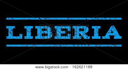 Liberia watermark stamp. Text caption between horizontal parallel lines with grunge design style. Rubber seal stamp with unclean texture. Vector blue color ink imprint on a black background.