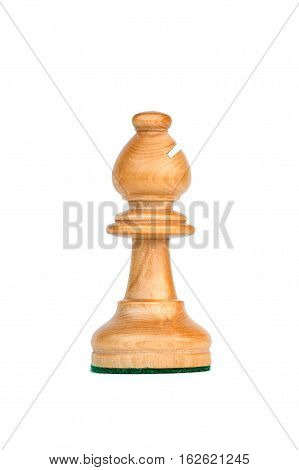 boxwood white bishop profile chess piece isolated