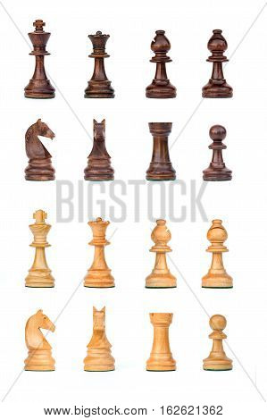 complete black and white chess pieces set isolated