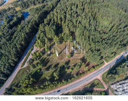 The obelisk at the entrance to the settlement Maksatikha. Shooting with the bird's eye view of Maksatikhinskiy district of Tver region.
