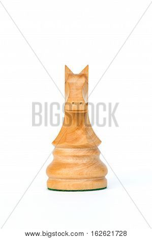 boxwood white knight chess piece isolated on white