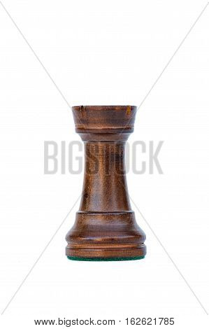 boxwood black tower profile chess piece isolated