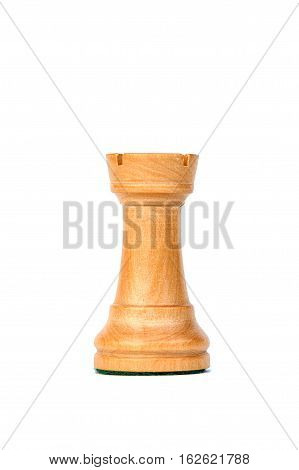 boxwood white tower profile chess piece isolated