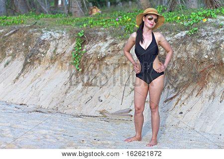 Lady shape sexy natural in Ban Krut Beach at Prachuap Khirikhun Province Thailand