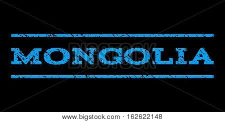 Mongolia watermark stamp. Text caption between horizontal parallel lines with grunge design style. Rubber seal stamp with dirty texture. Vector blue color ink imprint on a black background.