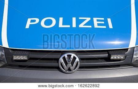 BERLIN / GERMANY - JUNE 32016: german police car stands on airport Schoenefeld