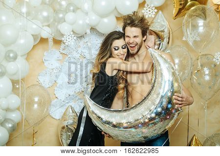 Happy Christmas Couple With Balloons