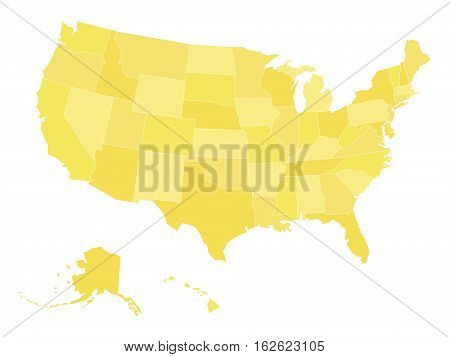 Blank map of United States of America, aka USA, divided into states in four shades of yellow. Simple flat vector illustration on white background.
