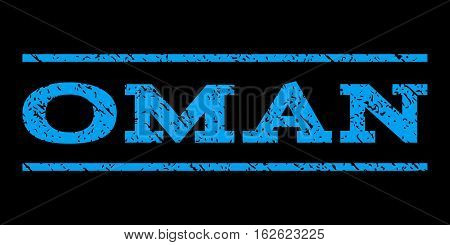 Oman watermark stamp. Text caption between horizontal parallel lines with grunge design style. Rubber seal stamp with dirty texture. Vector blue color ink imprint on a black background.