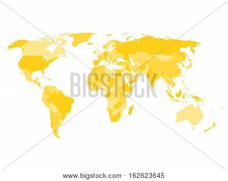 World map with names of sovereign countries and larger dependent territories. Simplified vector map in four shades of yelow on white background.