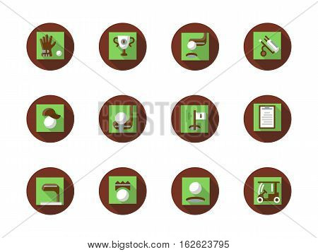 Sport and active leisure concept. Play golf elements. Equipment for golfing, holding tournaments and championships. Collection of flat brown and green style round vector icons.