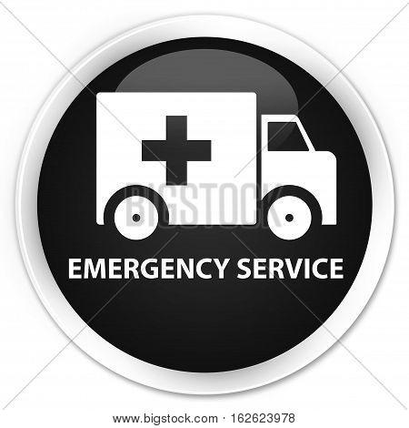 Emergency Service Premium Black Round Button
