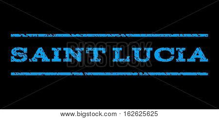 Saint Lucia watermark stamp. Text tag between horizontal parallel lines with grunge design style. Rubber seal stamp with dust texture. Vector blue color ink imprint on a black background.