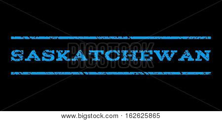 Saskatchewan watermark stamp. Text caption between horizontal parallel lines with grunge design style. Rubber seal stamp with dirty texture. Vector blue color ink imprint on a black background.