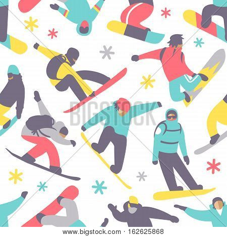 Snowboard seamless pattern extreme sport vector illustration. Snowboarder team graphic lifestyle background. Ski vacation snowboarding accessories winter season time.