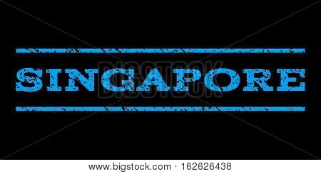 Singapore watermark stamp. Text tag between horizontal parallel lines with grunge design style. Rubber seal stamp with unclean texture. Vector blue color ink imprint on a black background.