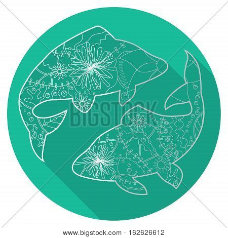 Vector flat icon of zodiac sign Pisces