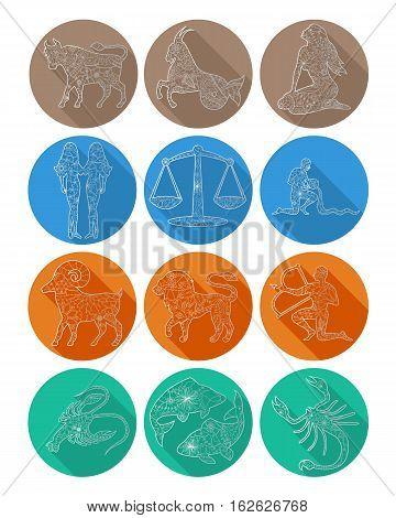 Vector flat icon of zodiac sign Scorpio