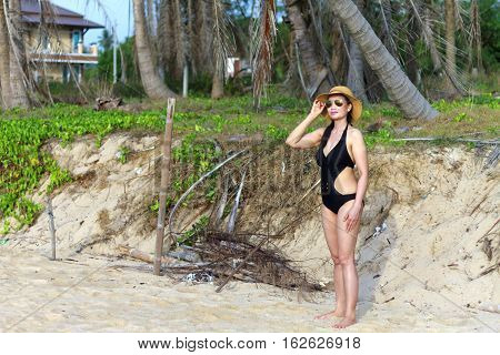 Lady body beautyful natural in Ban Krut Beach at Prachuap Khirikhun Provice Thailand