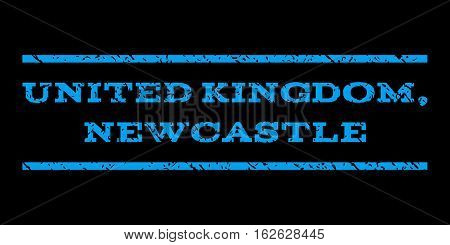 United Kingdom, Newcastle watermark stamp. Text tag between horizontal parallel lines with grunge design style. Rubber seal stamp with unclean texture.