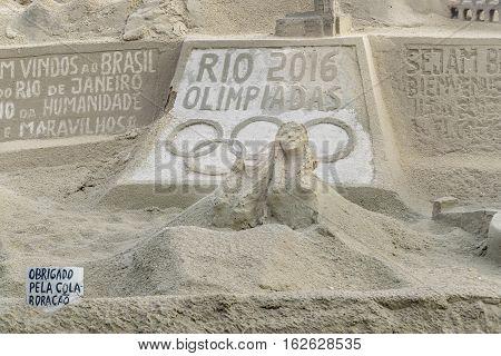 RIO DE JANEIRO, BRAZIL, JANUARY - 2016 - Sand scuplture at copacabana beach in Rio de Janeiro Brazil