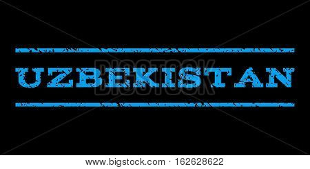 Uzbekistan watermark stamp. Text caption between horizontal parallel lines with grunge design style. Rubber seal stamp with scratched texture. Vector blue color ink imprint on a black background.