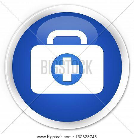 First Aid Kit Bag Icon Premium Blue Round Button