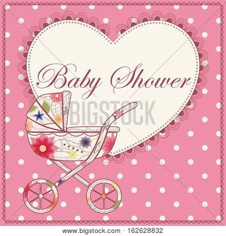 Vector card baby shower with heart and baby carriage pink vintage