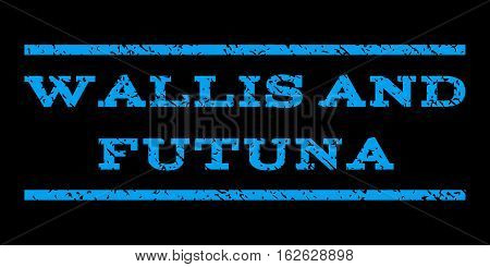 Wallis and Futuna watermark stamp. Text caption between horizontal parallel lines with grunge design style. Rubber seal stamp with dirty texture. Vector blue color ink imprint on a black background.